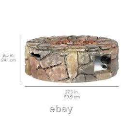 Stone Gas Fire Pit with 30,000 BTU, Ignition Button, Control Knob 27.6in